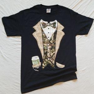Camo Tuxedo Tshirt Beer Pocket Mens Tee